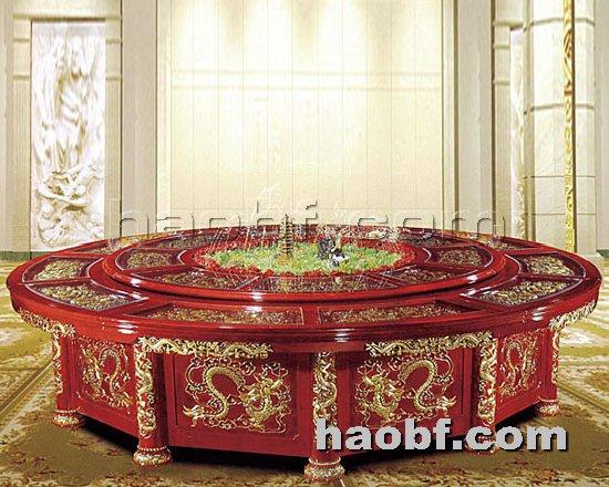 北京酒店家具提供生产实木雕花酒店豪华电动餐桌厂家